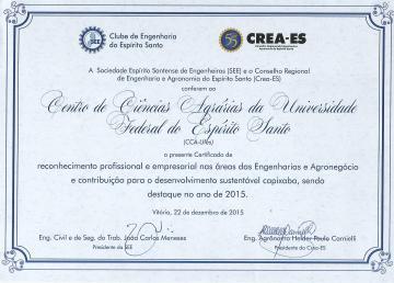 Cca Recebe Certificado De Destaquede Reconhecimento